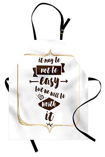 Ambesonne Schürze mit Zitat von Hochzeitsvorschlag inspirierter Sentenz mit Handschrift und Diamantformen, Unisex Küche Latzschürze mit verstellbarem Hals zum Kochen Backen Garten Braun Beige und ()