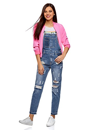 oodji Ultra Damen Jeans-Latzhose im Flickendesign Blau (7500W)