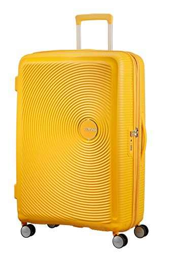 American tourister soundbox spinner espandibile bagaglio a mano, 4.2 kg, giallo (golden yellow),spinner l (77 cm - 110 l)
