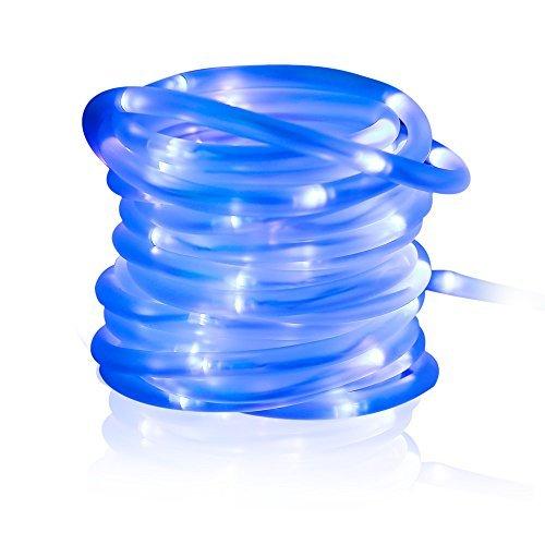 MEIKEE 100 LED Solar Lichtschlauch, 33 ft, 8 Modi Solar Lichterschlauch 100 LEDs mit Speicherfunktion IP55 Lichterkette mit Sonnenkollektoren für Innen & Außen zum Schmücken von Weihnachten, Party Blau [Energieklasse A+]