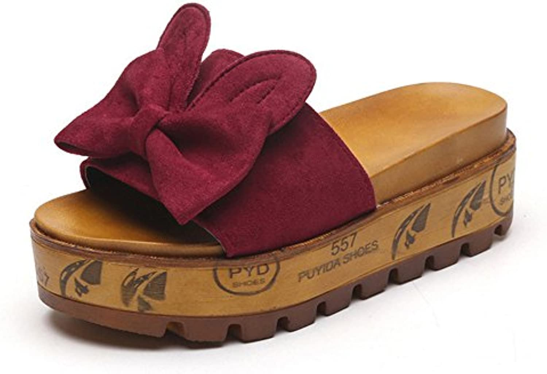 Aelegant Damen Somme Flach Chunky Heel Schlammig mit Bow Dekoration Holzsandalen Runde Sandalen Sommerschuhe Rutschfest