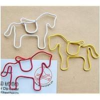 PanpA Diario 12 Piezas de Lindos Clips de Papel en Forma de Caballo de Metal Marcadores de Animales para Oficina de papelería de Oficina (Color Aleatorio)