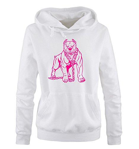 Comedy Shirts - PITBULL - Donna Hoodie cappuccio sweater - taglia S - XL different colors bianco / fucsia