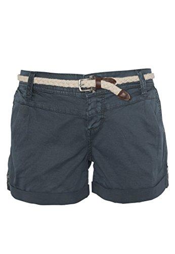 Eight2Nine Damen Shorts mit süßer Häkelspitze | Leichte Kurze Hose im Chino-Style mit Flechtgürtel Blue M - Damen Hose Shorts