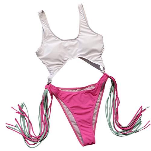 Gepolsterte Bh Thong Höschen (Bfmyxg Sexy Swimwear für Damen Lady Fashion Gestreifter Print Badeanzug Badeanzug Push-Up Gepolsterter BH-Overall Badeanzug Bikini Bodys Tankini Beachwear Monokini Sets)