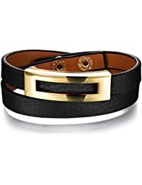 "bigsoho Black/Brown/Leopard print Leather Adjustable Wrap Bangle Belt Style w/ Golden Alloy Frame Women Bracelet 6.29""-7.08"""