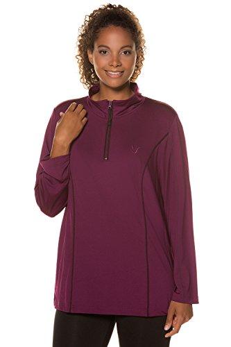Ulla Popken Femme Grandes tailles | Sweat à manches longues col droit zippé | 713367 violet foncé