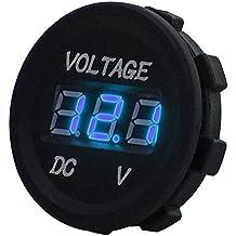 DC 12V LED display digitale voltmetro impermeabile per barca Marine veicolo moto atv utv, camion, auto camper blu digitale pannello rotondo,