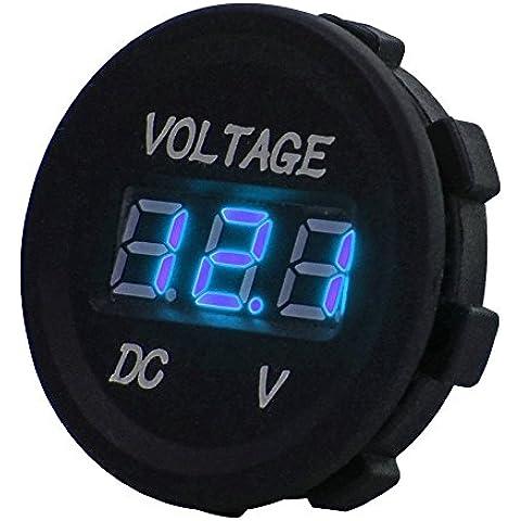 DC 12V LED pantalla digital voltímetro impermeable para barco marine vehículo motocicleta camión ATV UTV coche Camper Caravan azul Digital