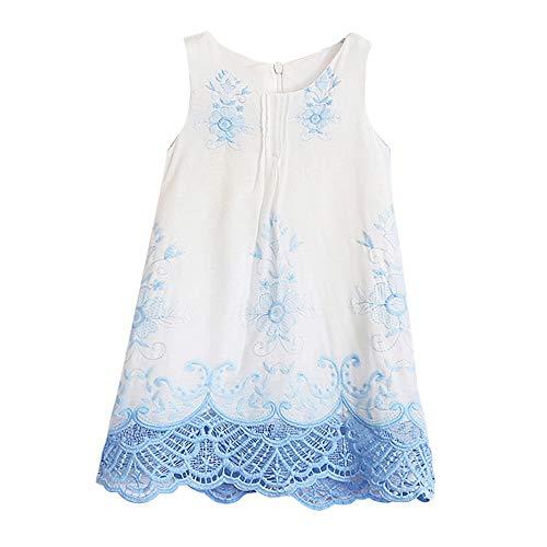 MOIKA Baby Mädchen Kleider, (2-10 Jahre) Baby Mädchen Prinzessin Kleid Kurzarm Kinder Spitze Blume Sommerkleid Stickerei Party Kleider
