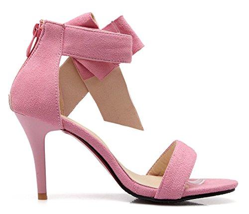 YE Damen Offene Peep Toe 9cm Absatz High Heels Riemchen Wildleder Nubukleder Sandalen mit Schleife Sommer Schuhe Rosa