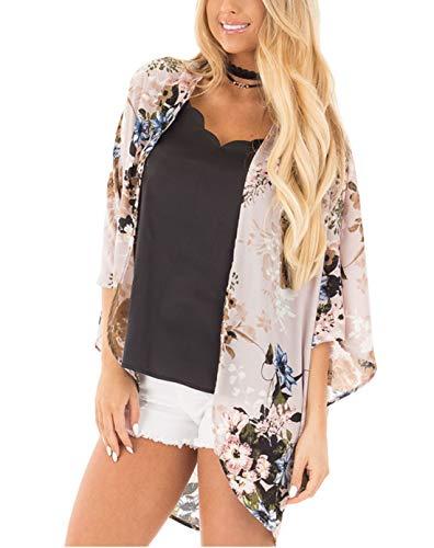 ECOMBOS Damen Florale Kimono Cardigan - Chiffon Tops Cardigan Bluse Shawl Sommer Beachwear Cover up Leichte Boho Strand Jacke (Hellgrau, XL)