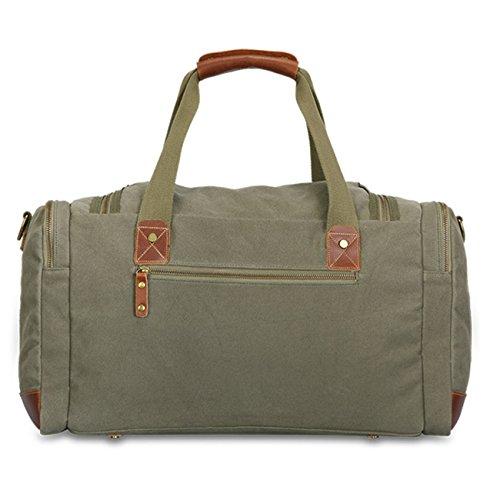 THEE Herren Canvas Reise Tasche mit Hohe Kapazität Duffeltasche Armee Grün