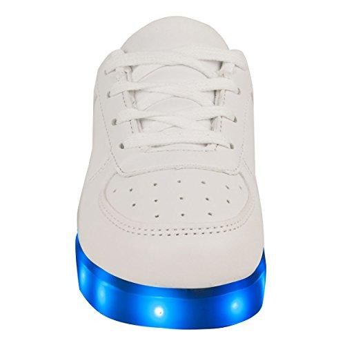 Enfants Filles Baskets clignotant LED Lumineux Lumières Chargeur USB Lacet Taille nouvelle du Royaume-Uni BLANC FAUX CUIR
