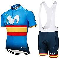SUHINFE Conjunto Ropa Equipacion, Ciclismo Maillot y Culotte Pantalones Cortos con 5D Gel Pad para Verano Deportes al Aire Libre Ciclo Bicicleta, MOV-Yellow, XXL