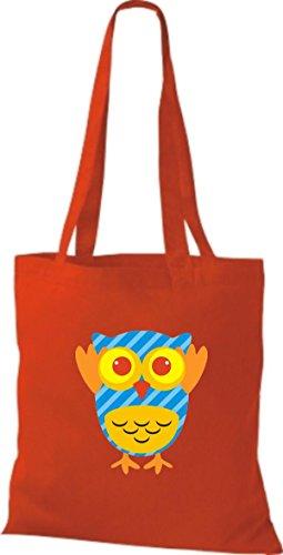 ShirtInStyle Jute Stoffbeutel Bunte Eule niedliche Tragetasche mit Punkte Karos streifen Owl Retro diverse Farbe, rosa rot