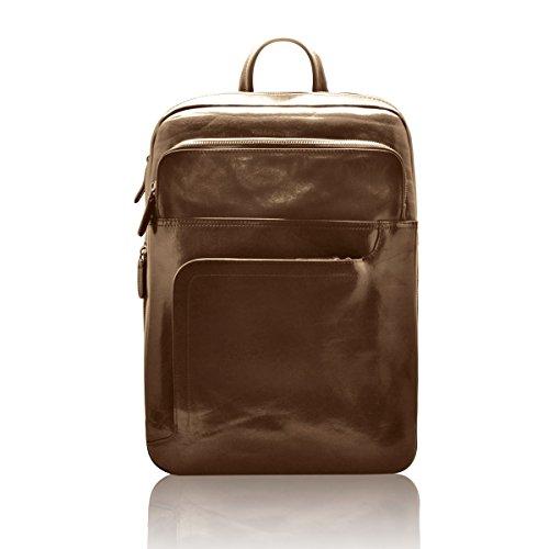 NOA Multifunktions Rucksack Arbeit oder Freizeit Mann Frau für ipad Laptop Reißverschluss und mehrere Taschen Vollnarbenleder pflanzlich gegerbte -