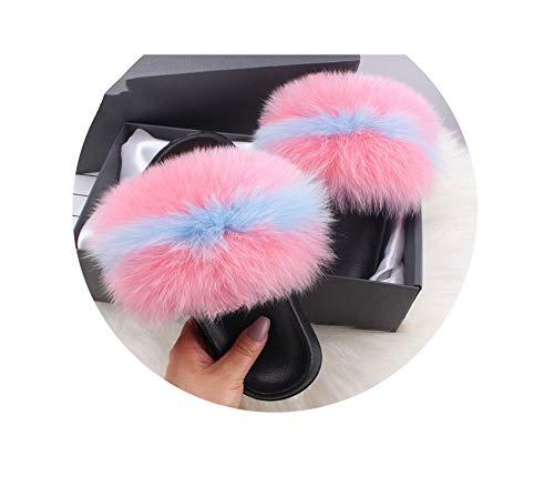 Fluffy Slippers Faux Fox FurSlides Indoor Flip Flops Casual Shoes Woman Raccoon Fur Sandals Vogue Plush Shoes,Pink Blue,11 Stiletto Heel Ankle Tie