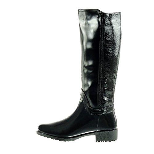 Angkorly - damen Schuhe Stiefel - Reitstiefel - Kavalier - Biker - Gummistiefel - Schlangenhaut - golden - Patent Blockabsatz high heel 3.5 CM Schwarz