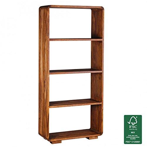 FineBuy Bücherregal Massiv-Holz Sheesham 85 x 190 cm Wohnzimmer-Regal Ablagefächer Design...