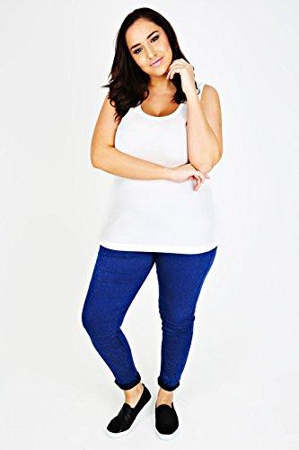 yoursclothing Plus Taille Femme Blanc Débardeur côtelé Blanc