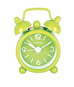 Technoline GENEVA DGW Mini Alarm Clock in traditional mini bell style. (Lime Green)