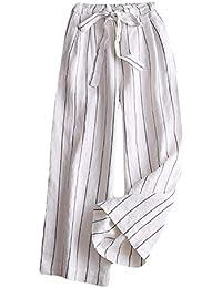 f58f5cabf883 Insun Femme Pantalon en Lin Cordon de Serrage Léger Pantalons 7 8 Longueur  Pantalon Taille