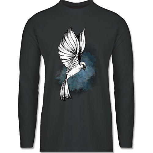 Shirtracer Vögel - Vogel Aquarelle Zeichnung - Herren Langarmshirt Dunkelgrau