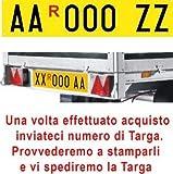 ShopAccessori Targa ripetitrice per rimorchi con serie Alfanumerica (4 lettere + 3 numeri) a scelta