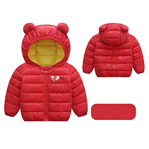 Livoral Kinder Jungen Mädchen Wintermäntel Jacke Kinder Reißverschluss Dicke Ohren Schnee Kapuze Outwear(B-Rot,80)