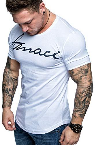 Amaci&Sons Oversize Herren Vintage T-Shirt Logo Crew Neck Rundhals Basic Shirt 6101-0203 Weiß/Navyblau XL