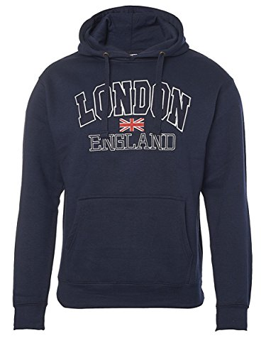 Londra Inghilterra - ricamato Pull Over Hoodie Navy blue X-Small