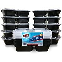 10recipiente de comida con 2compartimentos, sin BPA, recipientes de almacenamiento de plástico con tapa Reutilizables, apilables, para microondas, congelador, se puede lavar en lavavajillas, caja de almuerzo.