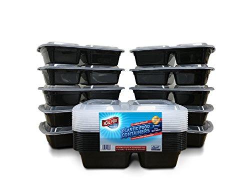 Contenitori per cibo con 2 scomparti, confezione da 10, per alimenti, in plastica senza bpa, con coperchi, impilabili, adatti per l'uso in microonde e freezer, lavabili in lavastoviglie