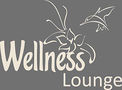 GRAZDesign 650064_57_816 Wandtattoo Wellness Lounge | Badezimmer-Wände mit Aufkleber gestalten | WC/Toilette (78x57cm//816 Antique White)