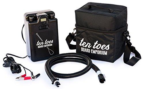 Ten Toes Board Emporium 12V iSUP elektrische Pumpe für Stand-Up-Paddelboard, Schwarz