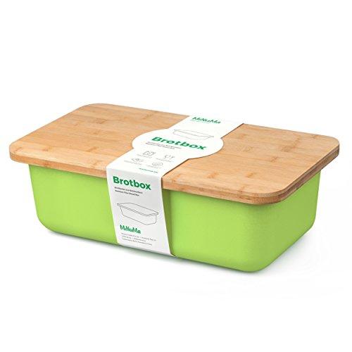 Minuma® Brotkasten aus Bambusfaser mit integriertem Bambusschneidebrett als Deckel (lebensmittelecht) | hellgrün