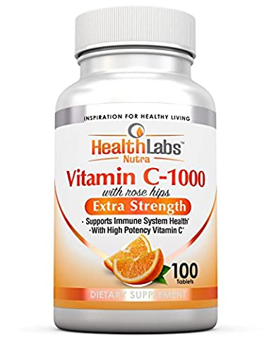 Health Labs Nutra Extra-Strength Vitamin C 1,000mg with Rose Hips - Promotes Optimal Immune Health (100 Fast-Acting Non-Chewable