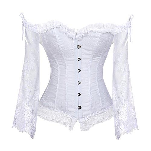 Grebrafan Gothic Korsett Bauchweg Corsage Taillen Korsett Dirndl Bluse Trachten Shirt (EUR(36-38) L,...