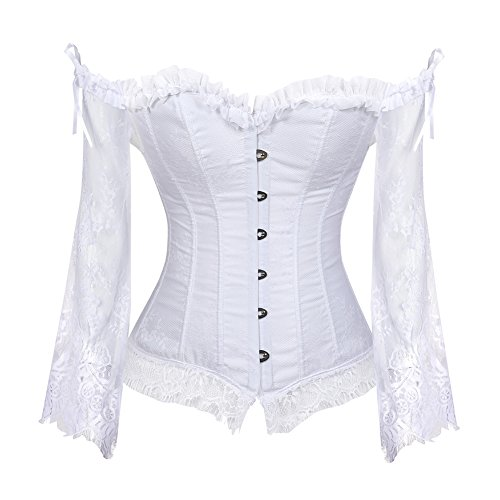 Grebrafan Gothic Korsett Bauchweg Corsage Taillen Korsett Dirndl Bluse Trachten Shirt (EUR(40-42)...