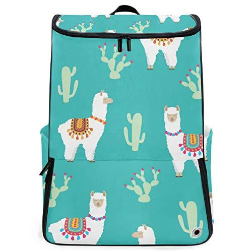 Zaino Animal Carino Llama Alpaca Cactus Pattern Zaino Trekking per Teen Boys Girls Perfetto scuola Daycare