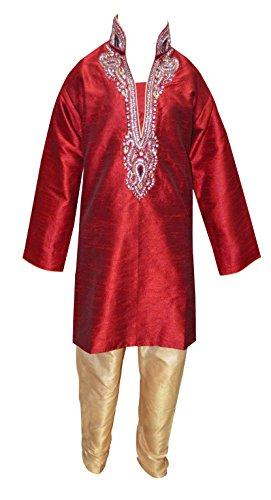 Desi Sarees Jungen Indien Pakistan Sherwani kurta salwar kameez mit Kontrast Churidar für Bollywood-thema & kostüm 840 - Kastanienbraun, 3 (Von Kostüme Pakistan Und Indien)