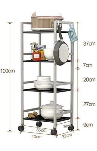 GRY Küche Regal / Boden Multilayer Mikrowelle Rack / Lagerung Topf / Küche Supplies Regal / Regal / beweglichen Regal,Silber grau - Lagerung Topf Rack