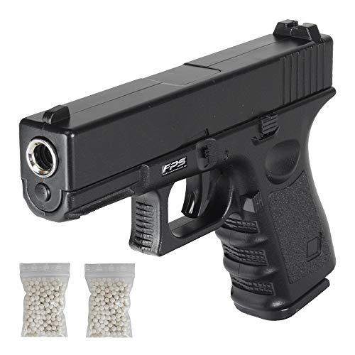 Softair Pistole Voll Metall FPS15 mit 11er Magazin aus Metall + 500x 0,2g BBS, Gewicht 687,95g, Farbe: Schwarz, Manuelles Federdruck Ladesystem, unter 0,5 Joule, Reichweite 28 m
