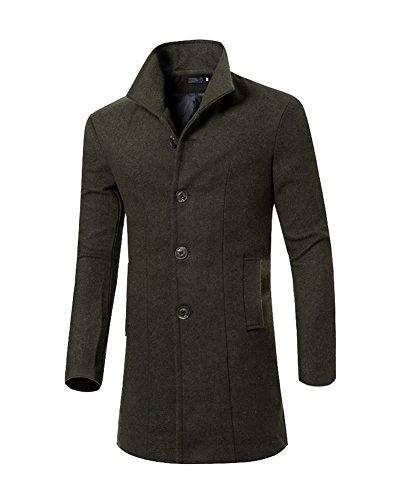 Herren Winter Slim Fit Mantel Business Überzieher Schlank Lange Windbreaker Jacken Armeegrün XL