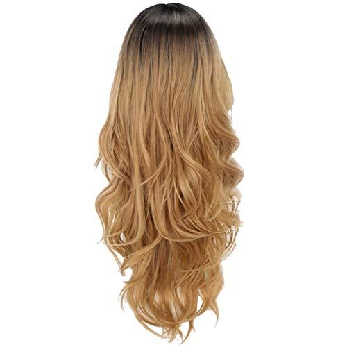Junjie Frauen Blonde Gradient Lange Lockige Synthetische Perücke Volle Spitzeperücke Mode Wellenförmige Perücke Gold Kostüme Haarteile für Erwachsene