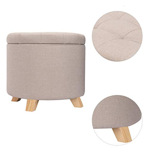 WOLTU Storage Ottoman Chair Stool Cream Upholstered Footstool Linen Round Pouffe Chair Multifunction with Removable…