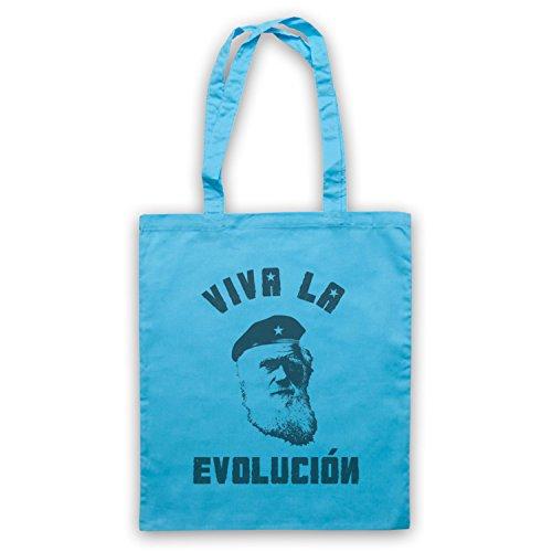 Charles Darwin Viva La Evolucion Cape Tasche Blu Chiaro