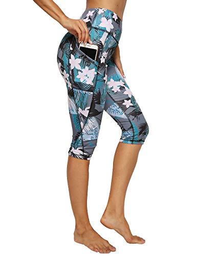FITTOO Damen Capris Workout Legging Laufhose Yoga Hose mit Seitentaschen Gr. XL, Print-floral (Plus Size Damen Kompression Hose)