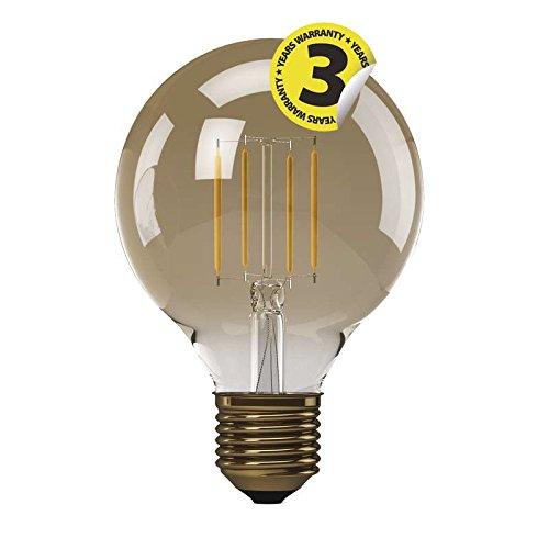EMOS LED-G95-PFV-4W-E27-WW A+, LED Glühlampe Vintage G95 4W E27 warm weiß+, Glas, 4 watts, E27, Transparent, 9, 5 x 13 cm